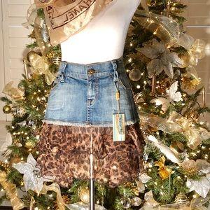 Allen B Denim and leopard print skirt NWT